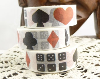 Dice, Hearts, Clubs, Diamonds, Spades, Card Suits Washi Tape - L1510