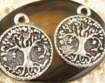 Fruit Bearing Tree Of Life Charm, Round Coin, Antique Silver (4) - S168