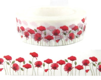 """Washi Tape Red Poppy Flower, Red Floral Washi Tape, 36"""" Sample Washi Tape or Full Roll  - CWWTS-18"""