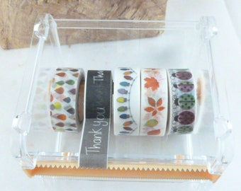 Washi Tape Dispenser, Washi Tape Storage Holder, Stackable, Large and Small Cutting Teeth