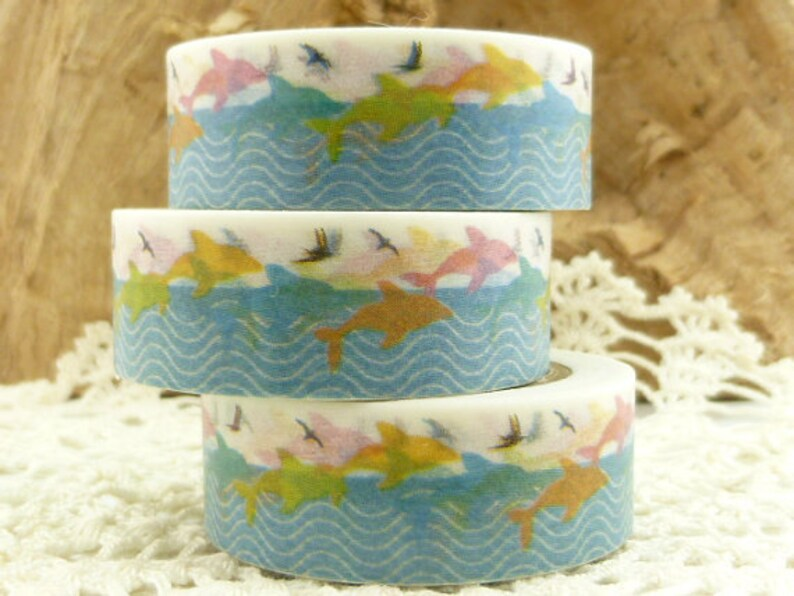 Beach Washi Tape 36 Sample Washi Tape or Full Roll HH1153 Washi Tape Jumping Dolphin