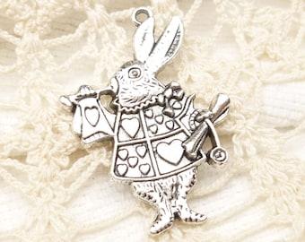 White Rabbit Alice in Wonderland Charm, Antique Silver (4) - S117