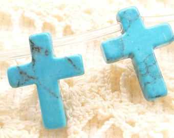 Turquoise  Howlite Cross Beads, drilled at the top (6)