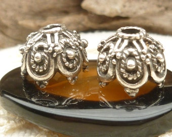 14mm Large Ornate Silver Pewter  Bead Cap, Rustic,  Mykonos Casting Beads (4) - M50 - x3965