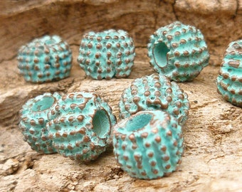 8mm Spikey, Bali-style Spacer Bead, Rustic, Patina Beads, Mykonos Casting Beads (6) - M25 - X0800