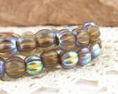Large Hole Czech Glass Bead, AB Metallic Neutral Colors Melon Round Bead (1 strand) - BH8 065