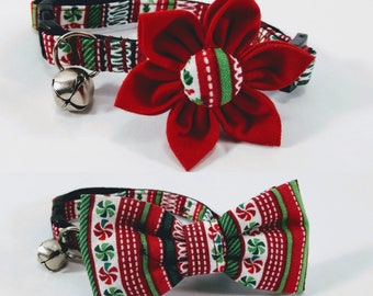 holiday cat collar with flower or bow tie red and green christmas candy breakaway collar adjustable sizes s kitten m l