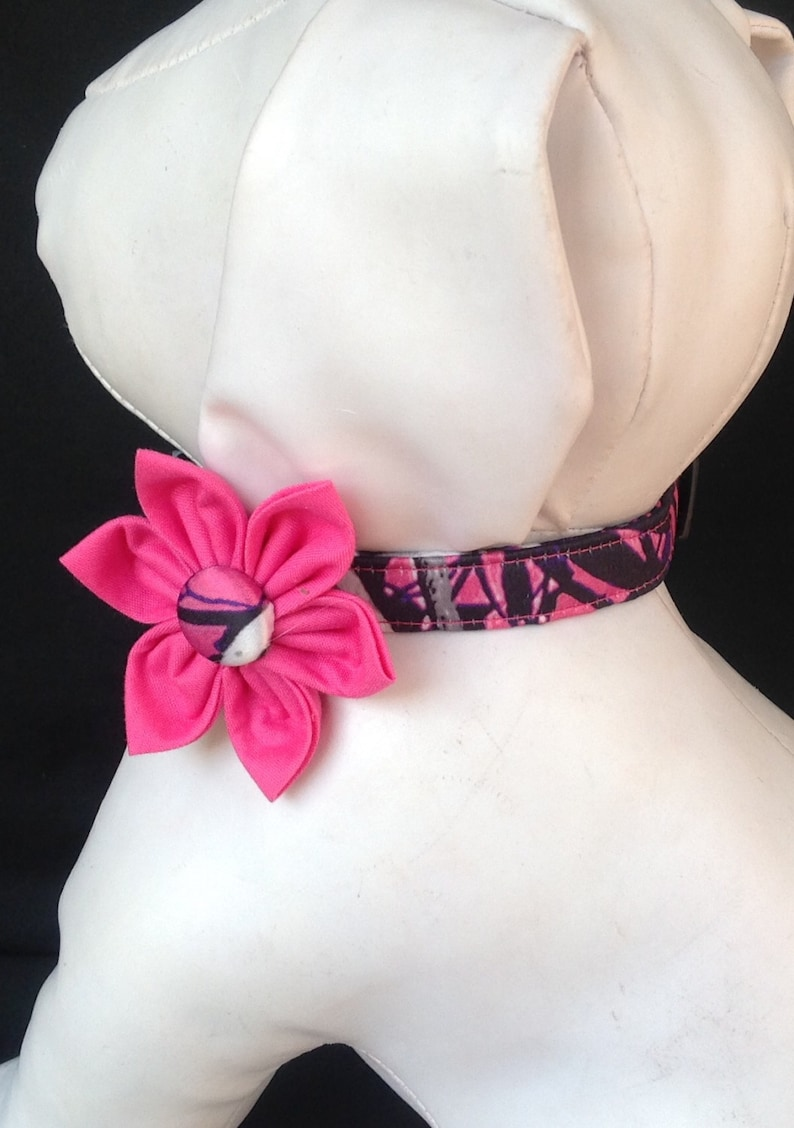 S L M XL Dog Collar with Flower Hot Pink and Black Polka Dot Adjustable Sizes XS
