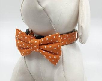 Bow Tie Dog Collar - Ochre Orange Polka Dot Adjustable Pet Collar - Size XSmall, Small,  Medium, Large, XLarge
