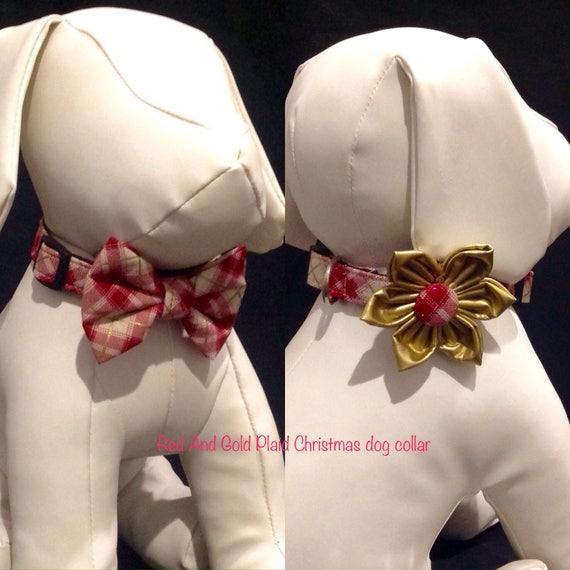 Noël chien fleur/Bow Tie ensemble - rouge et or à carreaux collier de chien réglable - taille XS, S, M, L, XL