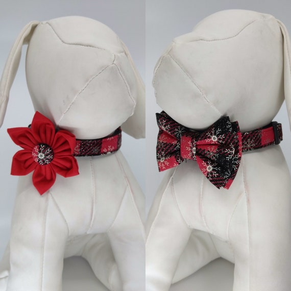 S L Christmas Dog Collar with Flower or Bow Tie M Red and Gold Plaid Pet Collar Sizes XS XL