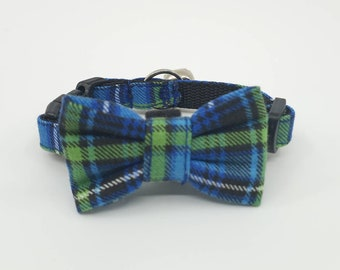 Cat Collar With Bow Tie - Blue And Green Plaid - Availlable In 3 Adjustable Breakaway Collar Sizes S Kitten, Medium, Large