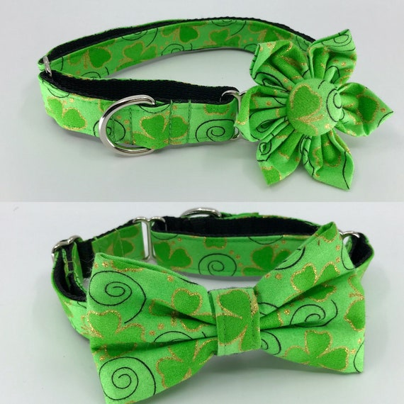 Glitter Four Leaf Cover Slip on Collar Adjustable Sizes S L St M Patricks Day Martingale Dog Collar with Flower or Bow Tie XL