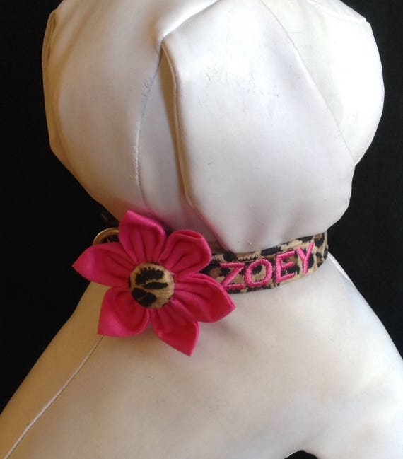 L with your Dogs Name Optional M XL Embroidered Personalized Dog Collar with Flower Hot Pink Multi Polka Dot Sizes XS S