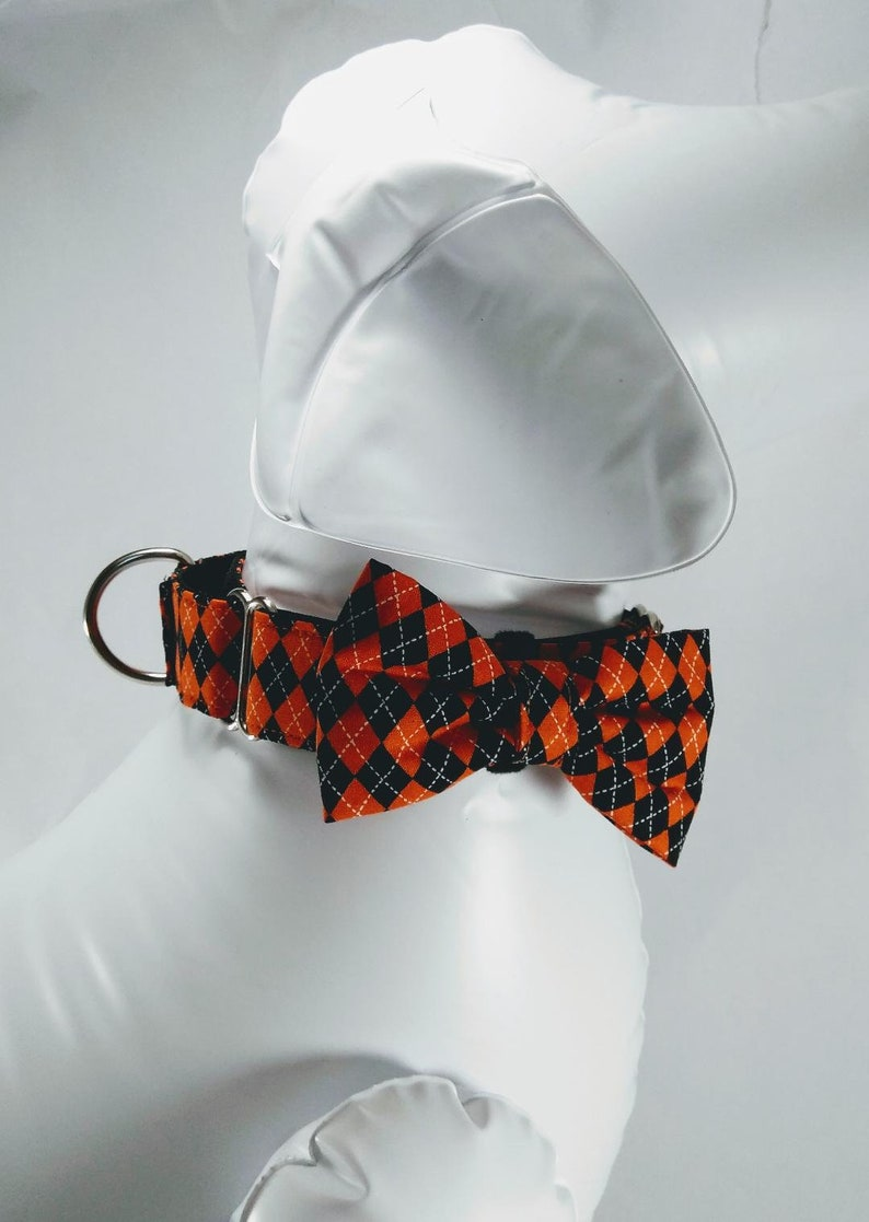 Argyle dog bow tie