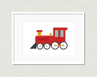 Modern toy train art, train print, toy train, red train, modern nursery art, children's art print, kid's art, colorful nursery art