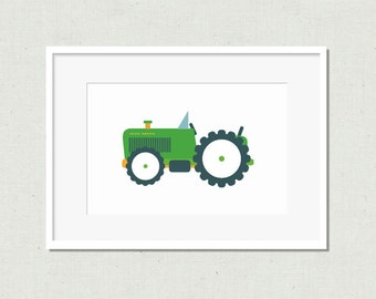 Nursery art, nursery decor,  modern nursery art, kids room art, nursery print, tractor print, green tractor, tractor nursery art, green art