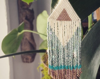 """Happy Place Sun, Water and Sand """"Rachel"""" Handwoven Fringe Delica Seed Bead Earrings"""