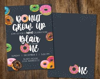 Donut Grow up Invitation