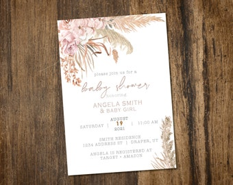 Pampas Grass floral shower or blessing Invitation