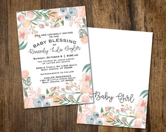 Floral Baby shower or blessing Invitation