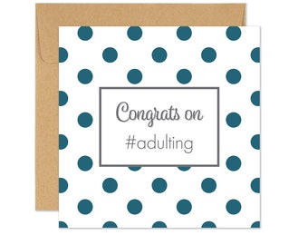 Funny Congrats Card, Adulting Award, Way to Go Card, You Did It Card, New Job Card