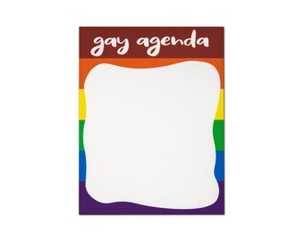 Gay Agenda Notepad, Funny Notepad, Best Friend Gift