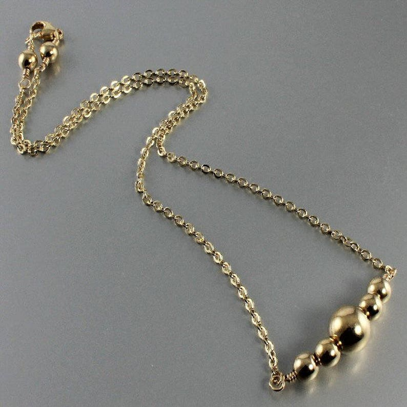 Gold Bead Gold Chain Necklace