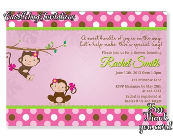 Items similar to pink monkey girl baby shower invitation pink baby pink monkey girl baby shower invitation pink baby girl shower invitation little monkey shower invite baby monkey shower printable filmwisefo