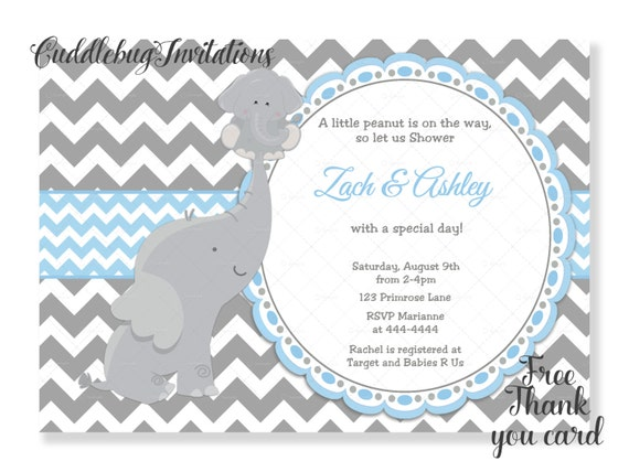 Blue Elephant Boy Baby Shower Invitation Baby Boy Shower Etsy