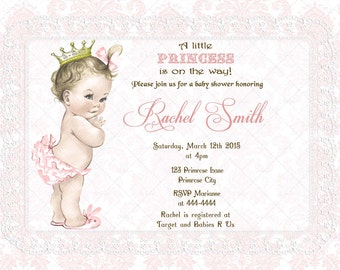 Girl Baby Shower Party Invitation Card and FREE Thank You Card Printable DIY - Vintage Pink Lace Princess