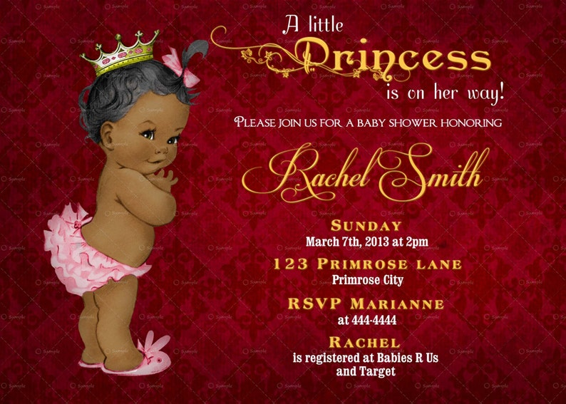 image relating to Free Printable African American Baby Shower Invitations identify African American Female Youngster Shower Invitation Woman and Cost-free Thank On your own Card Printable - Typical Royal Youngster Shower Invite Burgundy Gold -
