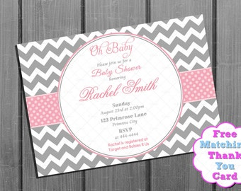 Pink and Grey Chevron Baby Shower Invitation - Pink Baby Shower Invite - Baby Girl Shower - Baby Shower Invitation Printable