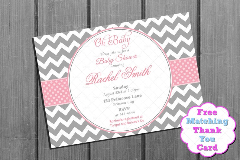 f15c98a9b2a5 Pink And Grey Chevron Baby Shower Invitation Etsy