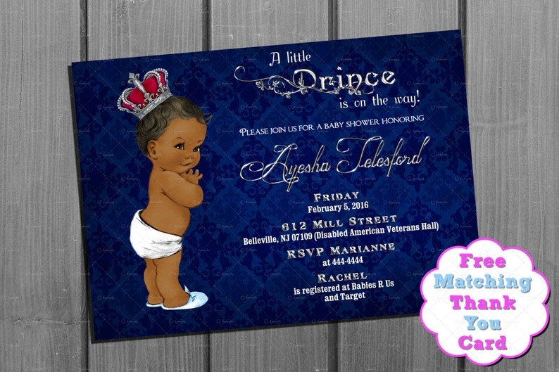 graphic regarding Free Printable African American Baby Shower Invitations called African American Youngster Shower Invitation Boy and Absolutely free Thank Oneself Card Printable - Royal Little one Shower Invitation - Military Blue and Silver Invite