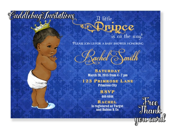 African American Boy Baby Shower Invitation Boy Printable Etsy