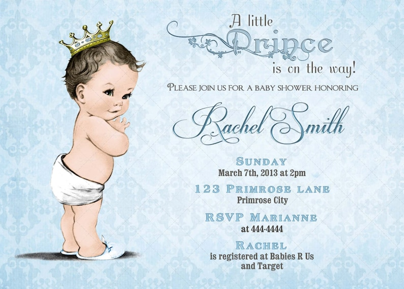 photograph relating to Free Printable Prince Baby Shower Invitations identify Blue Prince Youngster Shower Invitation and No cost Thank By yourself Card - Basic Royal Youngster Boy Shower Invite - Blue Boy Child Shower Printable