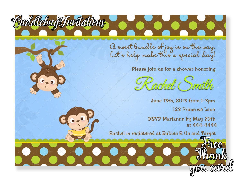 Monkey boy baby shower invitation jungle baby boy shower etsy zoom filmwisefo