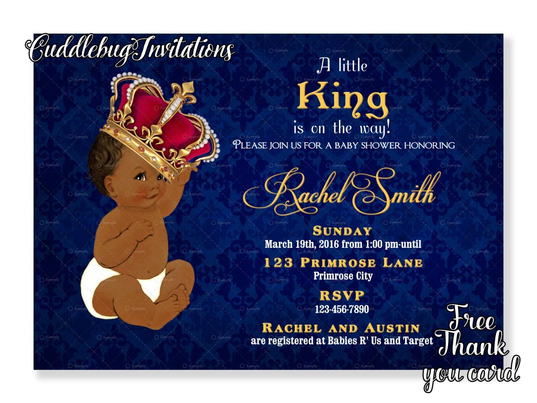 African American Boy Baby Shower Invitation King Baby Boy Etsy