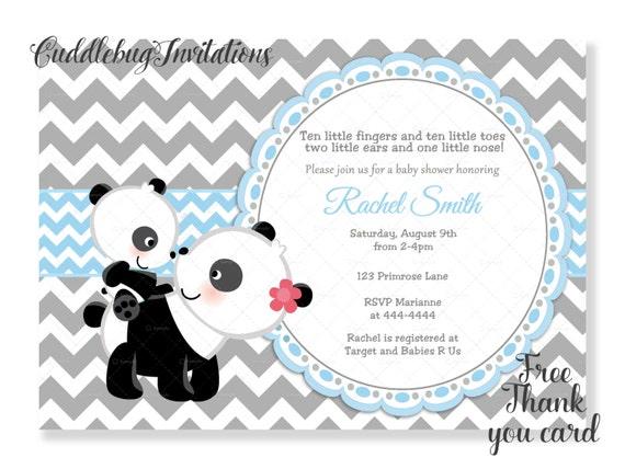 Blue boy panda baby shower invitation panda bear baby boy etsy image 0 filmwisefo
