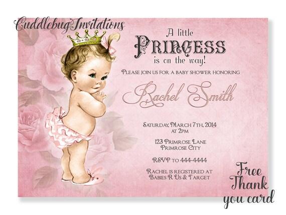 Pink girl baby shower invitation vintage baby girl shower etsy image 0 filmwisefo