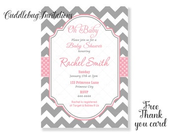 Pink Baby Shower Invitation | Pink Girl Baby Shower Invite | Baby Girl Shower Invitation Printable | Baby Shower Invitation for girls
