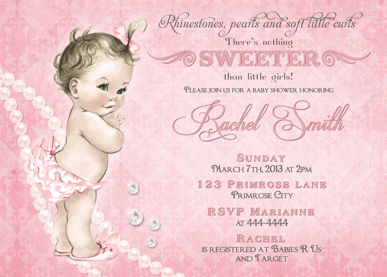 Girl Baby Shower Invitation And Free Thank You Card Vintage Etsy
