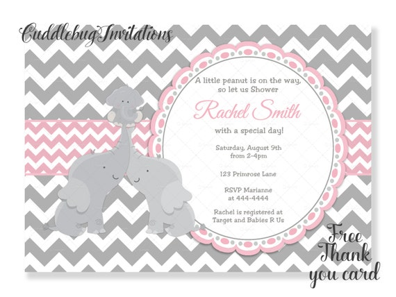 Pink Co Ed Elephant Girl Baby Shower Invitation Pink Couples Etsy
