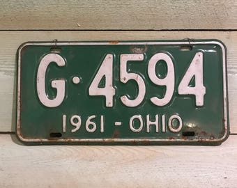 1961 Green Ohio license plate G 4594
