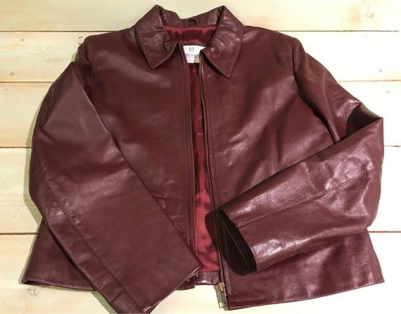 Vintage Michelangelo Italian Leather Jacket Wine Colored Size Etsy