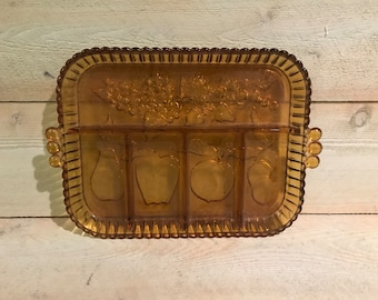 Mid-Century Amber Tray Platter with fruit design Amber divided serving tray
