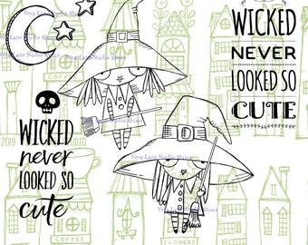 Wee Witches - 5 digi stamp bundle