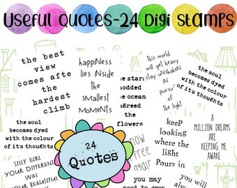 Useful Quotes -  24 quote/ sentiments stamps in jpg files for cards, journals and planners