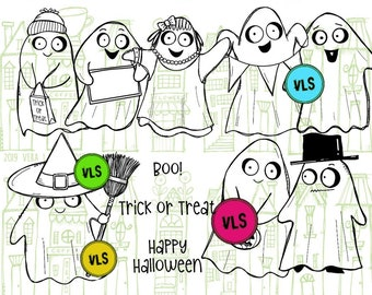 Ghost Party - 9 Digi stamp bundle in jpg and png files